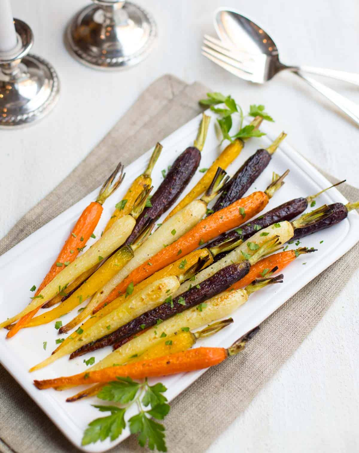 Oven Roasted Multi-Colored Carrots on platter