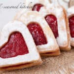 Heart-shaped almond raspberry cookies