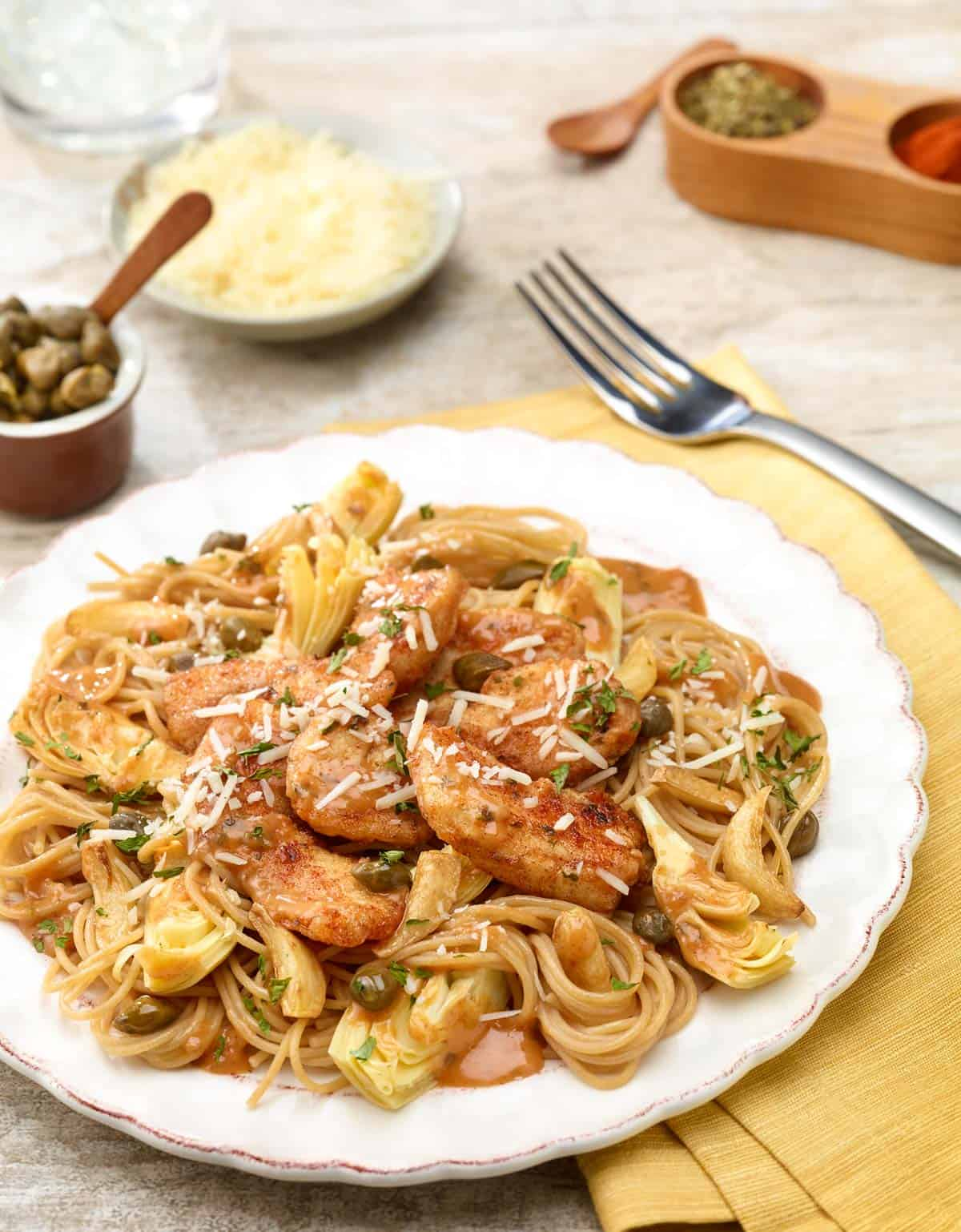 Angel Hair Pasta with Chicken and Artichoke-Caper Sauce