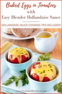 Pin of Baked Eggs in Tomatoes with Blender Hollandaise Sauce, to share on Pinterest
