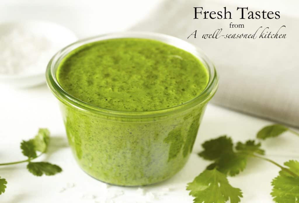 glass bowl of cilantro pesto