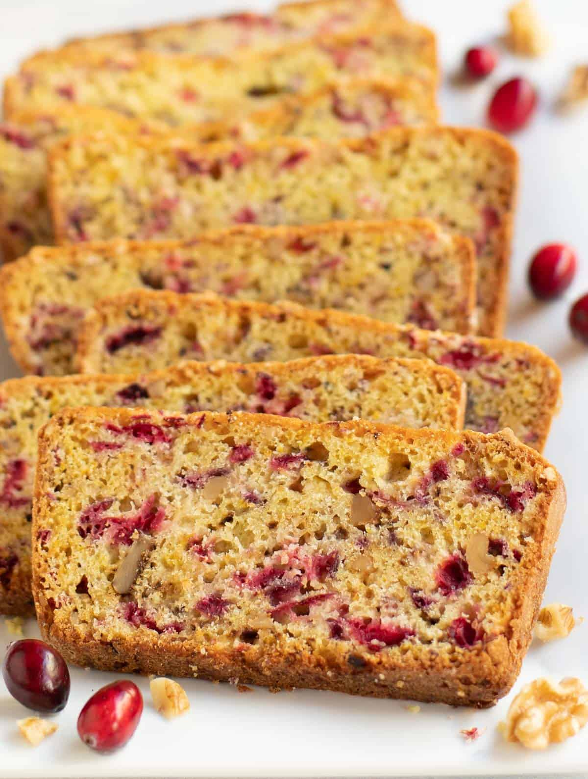 Cranberry Nut Bread sliced on a plate