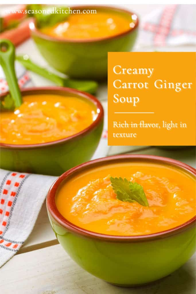 bowls showing 3 servings of Creamy Carrot Soup, formatted for sharing on social media
