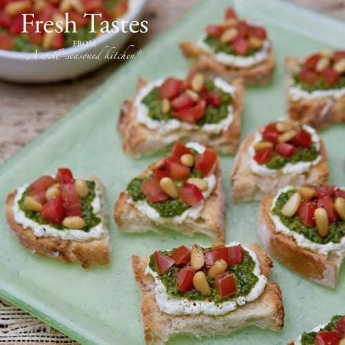 Goat-Cheese-Pesto-and Tomato-Crostini