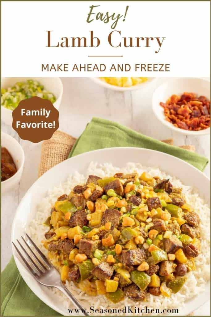 Photo of Lamb Curry formatted for sharing on Pinterest