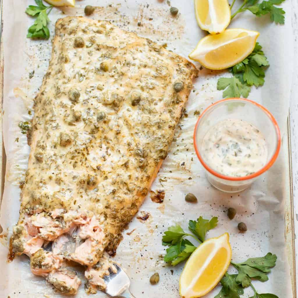 Baked Busy Night Lemon-Caper Salmon on half sheet pan