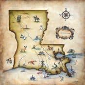 *Image credit Fine Art America, Louisiana Map Painting by Judy Merrell