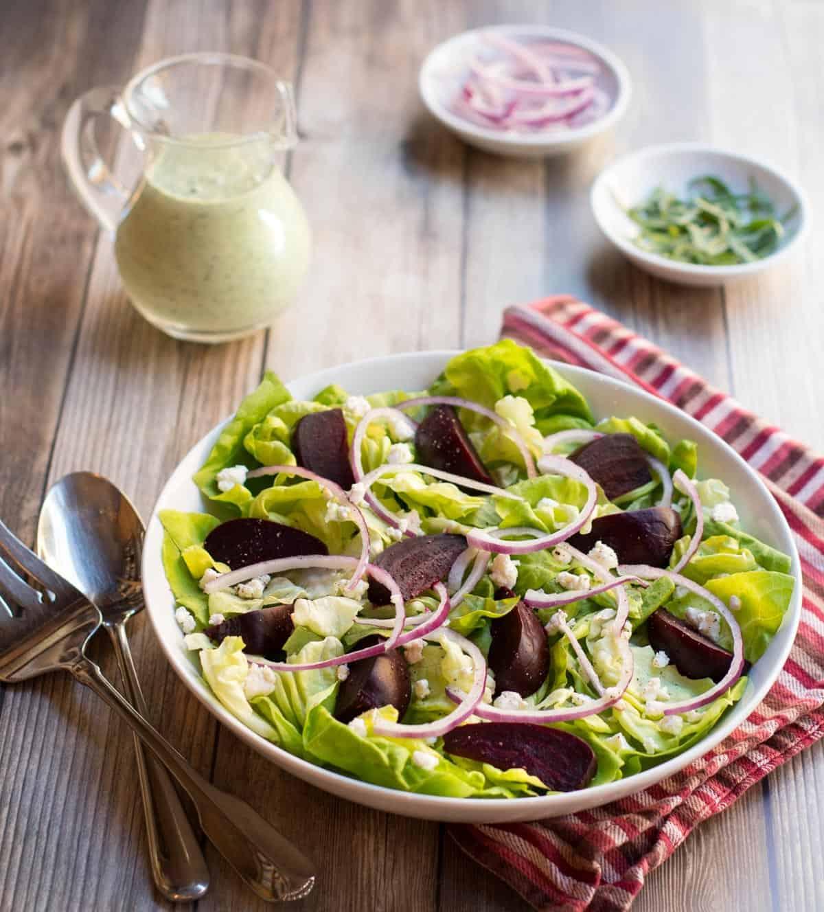 Roasted Beet Salad with Arugula Dressing on the side