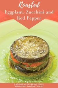light green plate filled with a serving of Roasted Eggplant, Zucchini and Red Pepper