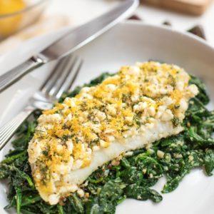 Roasted-cod-feta-lemon-dill-on-spinach-recipe-seasonedkitchen.com