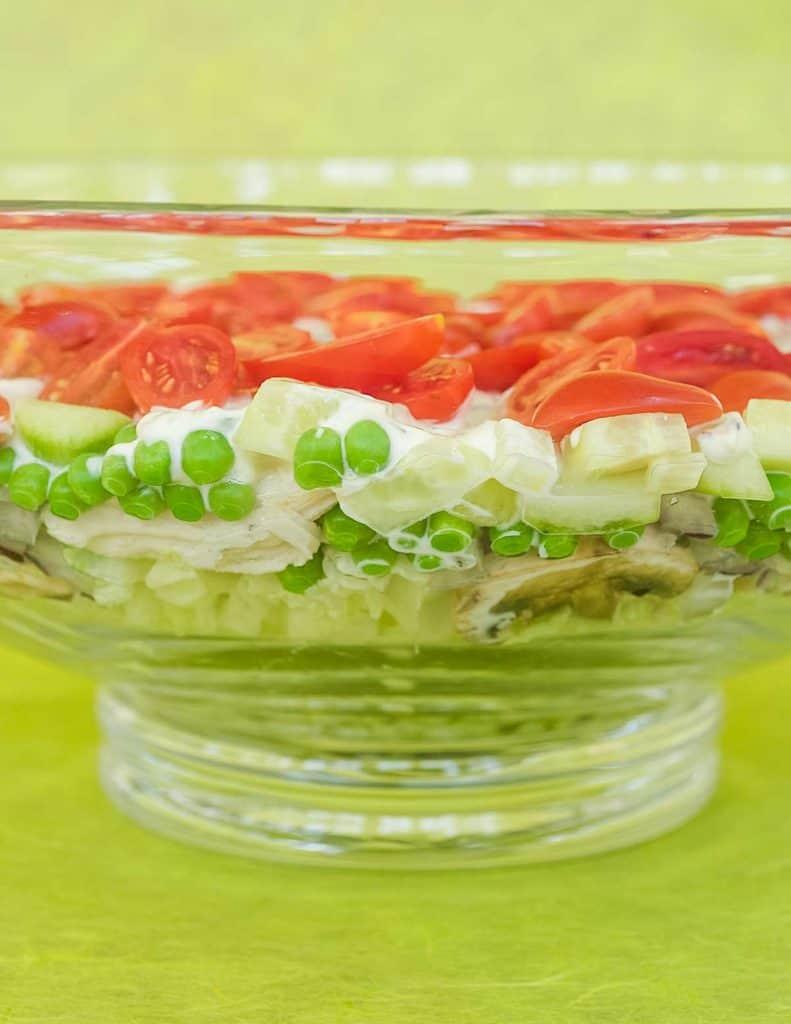 glass bowl showing layered version of Tarragon Chicken Salad