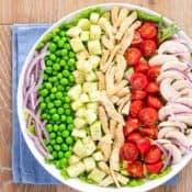 close up shot of Tarragon Chicken Salad, igredients in rows