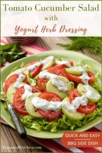 green round platter with Tomato Cucumber Salad and Yogurt Herb Dressing