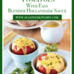 Light blue cups filled with Baked Eggs in Tomatoes with Easy Blender Hollandaise Sauce