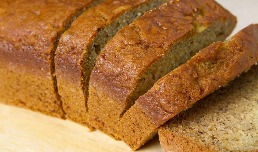 sliced loaf of banana bread