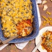 Blue dish filled with Beef, Spinach and Noodle Casserole