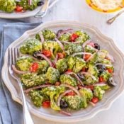 round plate showing Best Broccoli Salad