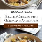 round Le Creuset dish filled with Braised Chicken with Olives and Artichokes