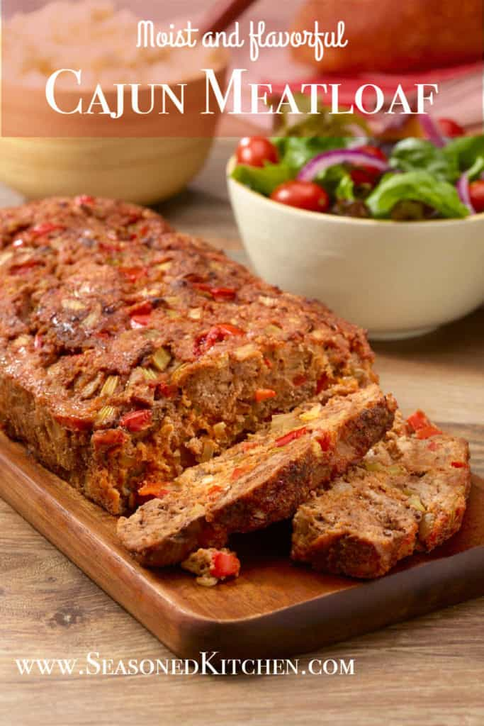 Cutting board with slices of Cajun Meatloaf