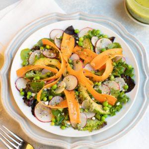 Shaved carrots, radishes, avocado, feta chees and lemon basil vinaigrette