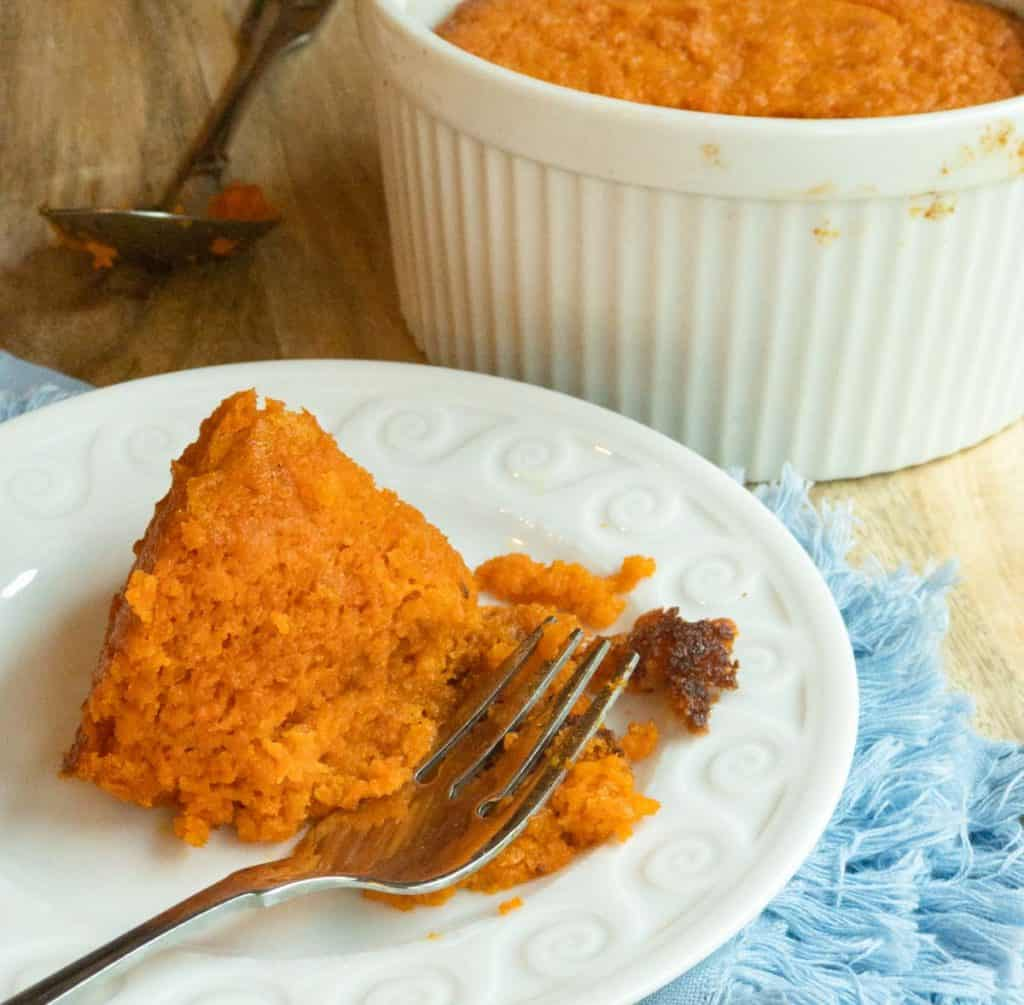 small with plate with a serving of Roasted Carrot Souffle