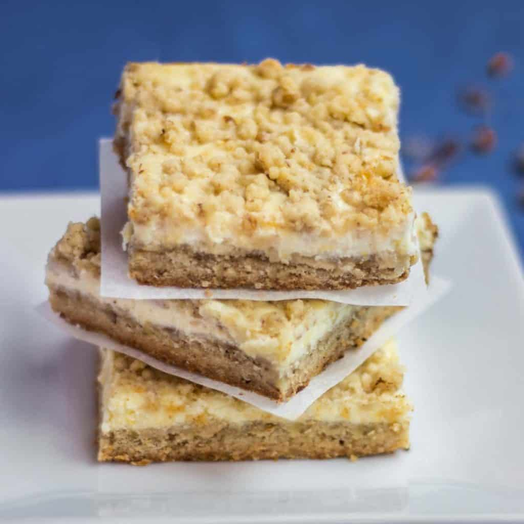 Square plate with a stack of Cheesecake Squares cookies