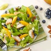 White plate filled with Chicken,Blueberry and Mango Salad