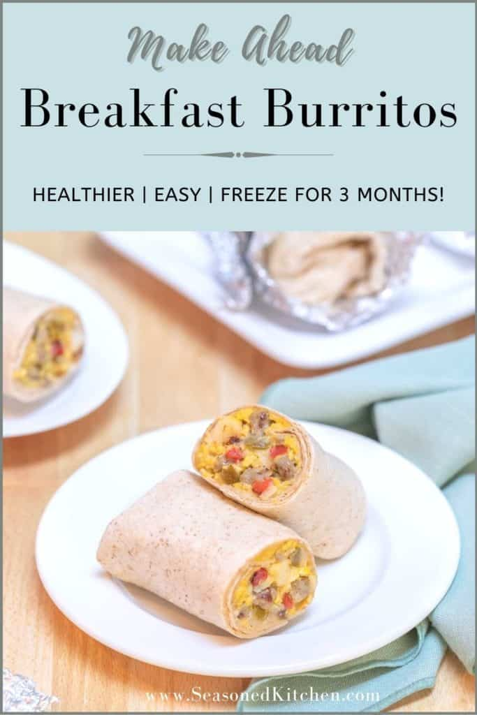photo of Make Ahead Breakfast Burritos formatted for sharing on Pinterest