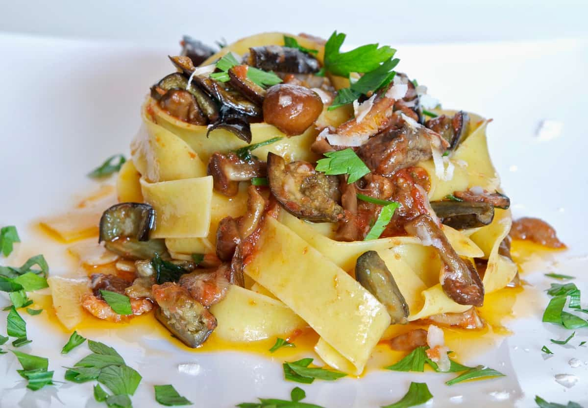 quick eggplant and mushroom pappardelle recipe a well seasoned