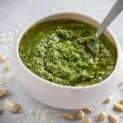 White bowl filled with Pesto Genovese