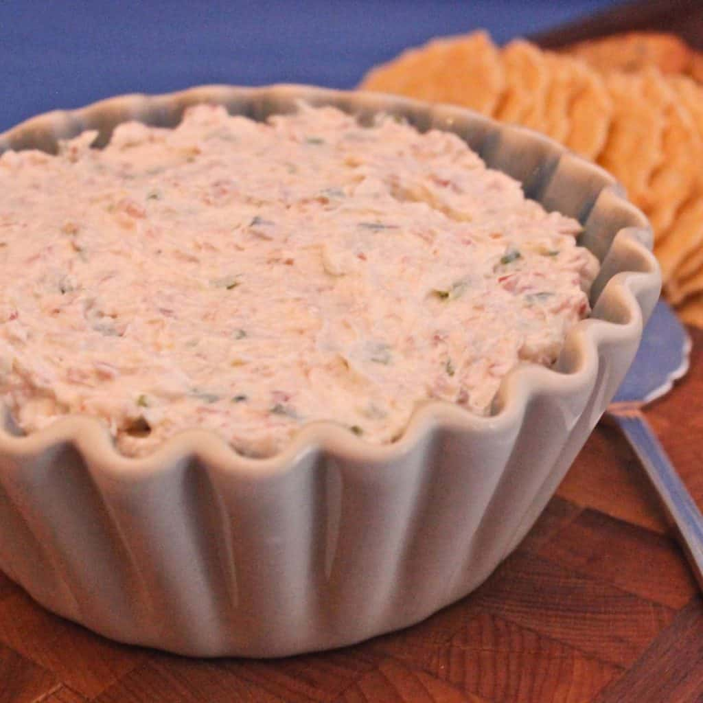 White dish filled with Country Ham Cheese Spread