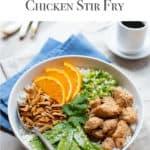 Healthy Chicken Stir Fry arranged in a white bowl