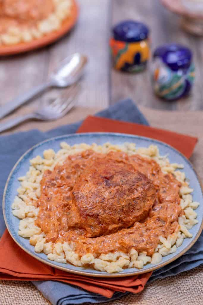 Blue plate showing a portion of Hungarian Chicken Paprikash