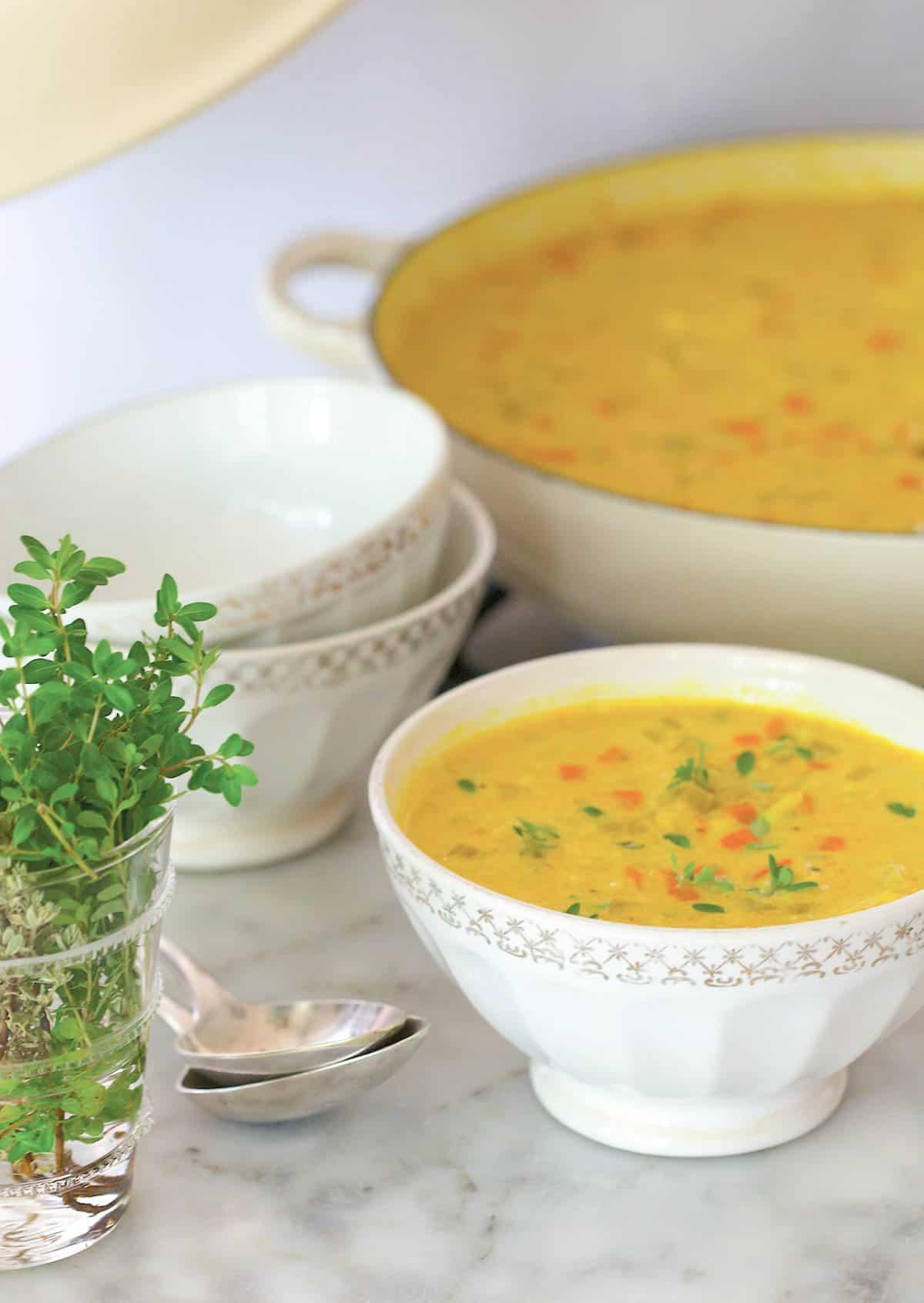white bowl filled with Indian Mulligatawny Soup
