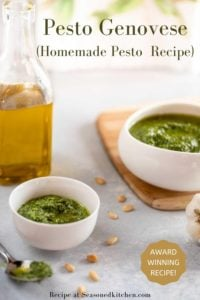 photo of Pesto Genovese formatted to be pinned on Pinterest
