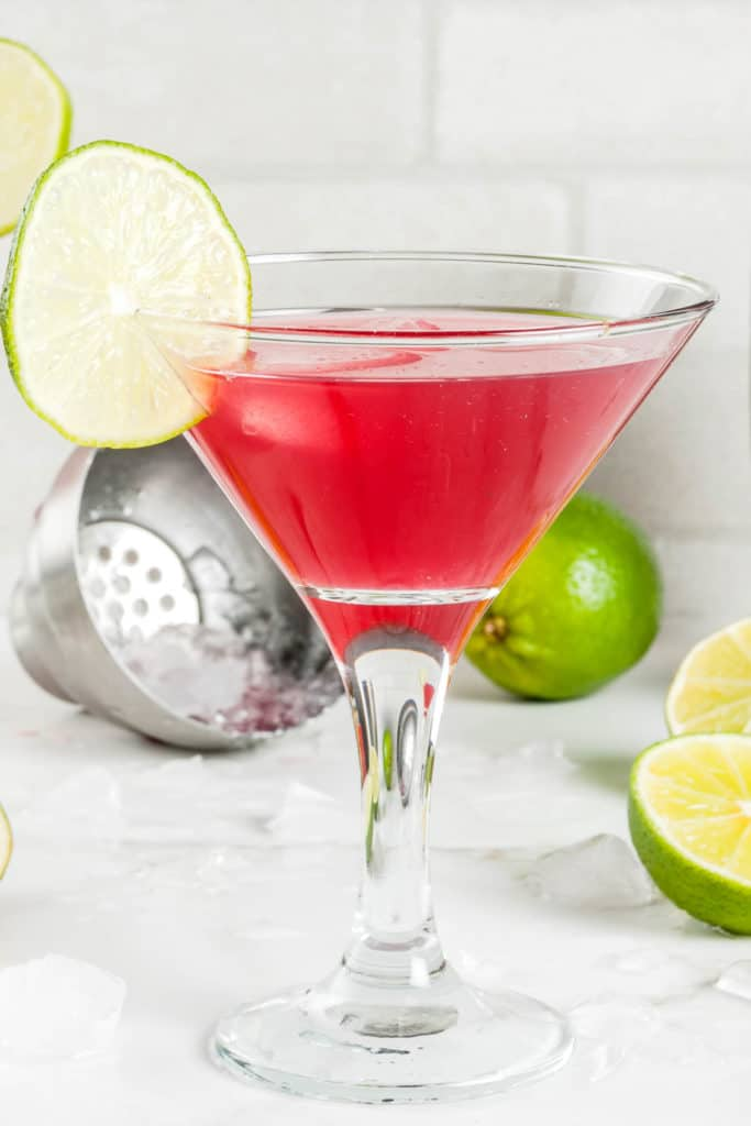 clear stemmed glass filled with Red Carpet Martini