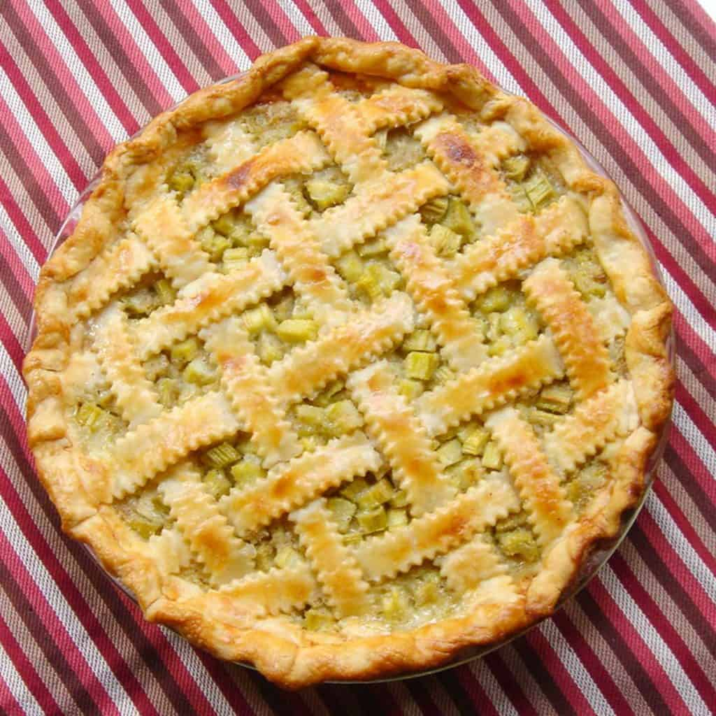 Rhubarb Pie on top of a red striped dish towel.