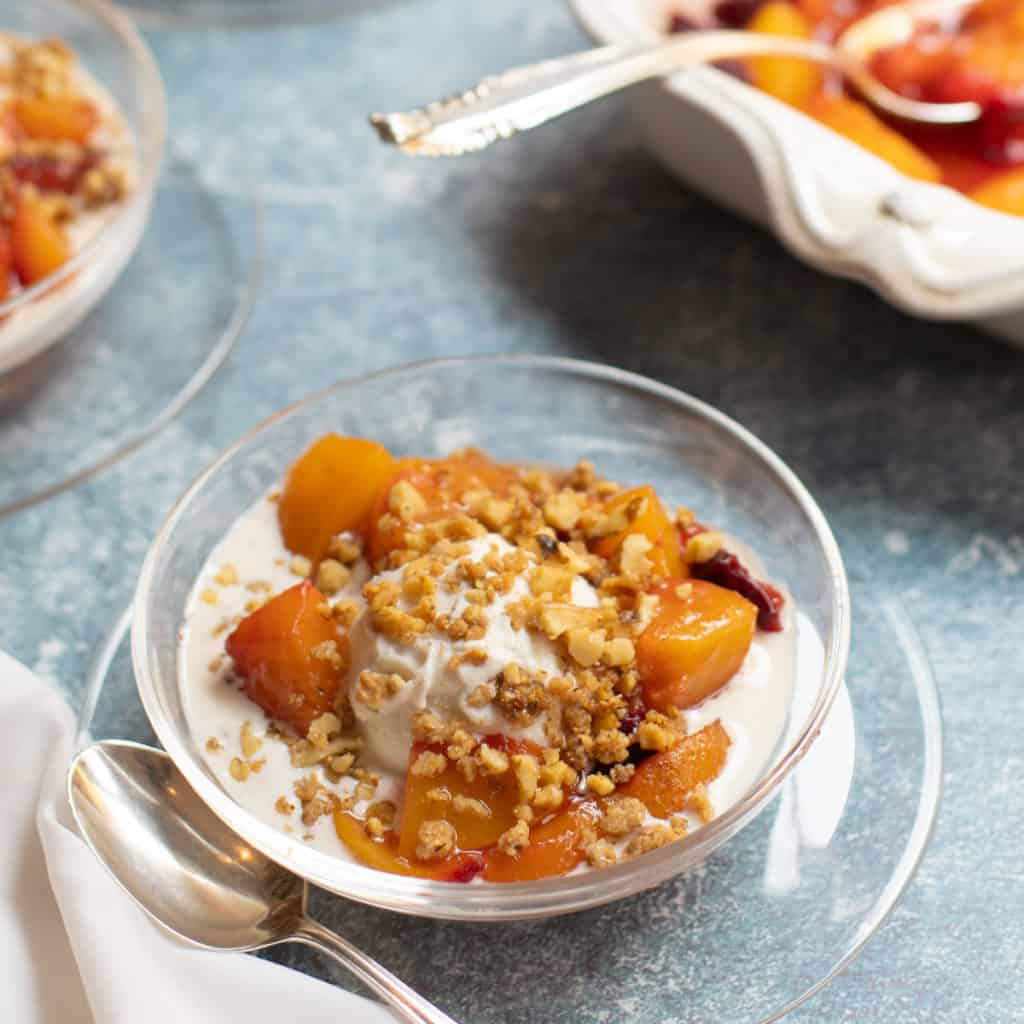 roasted peaches, nectarines and plums over ice cream with candied walnuts