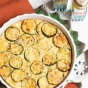 Round baking dish with zucchini custard