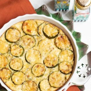 Round baking dish with zucchini custard