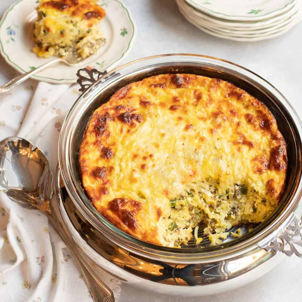 Round casserole of Sausage, Cheese and Hash Brown Strata