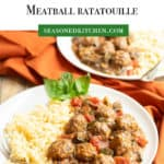 White plate with Slow Cooker Mediterranean Meatball Ratatouille