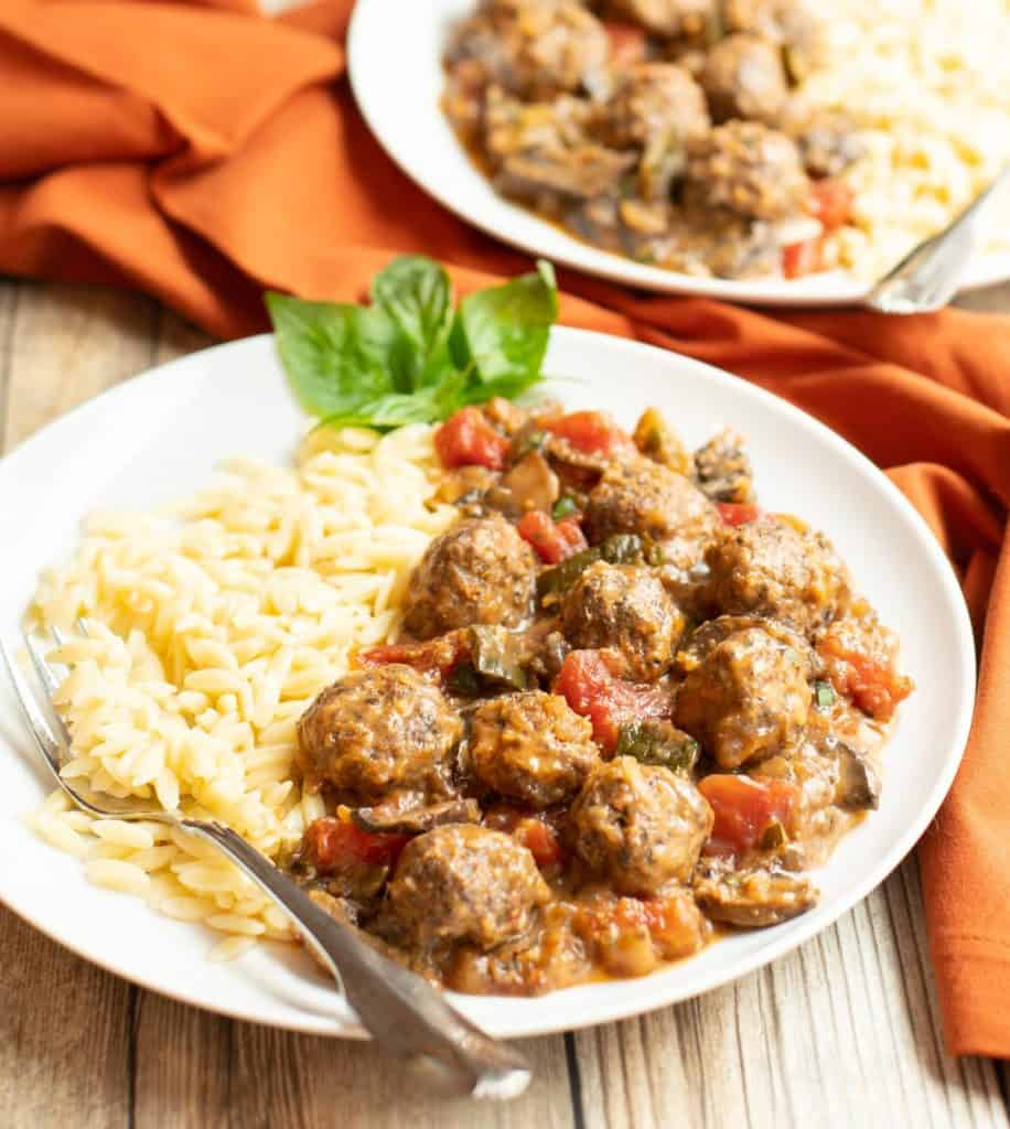 Plate of Mediterraean Meatball Ratatouille with orzo