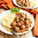 Plate of Mediterranean Meatball Ratatouille and orzo