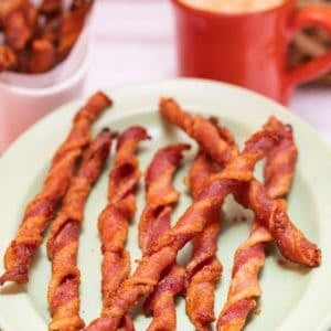 Oval platter filled with Spiced Bacon Twists