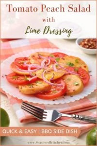 round white plate filled with Tomato Peach Salad with Lime Dressing