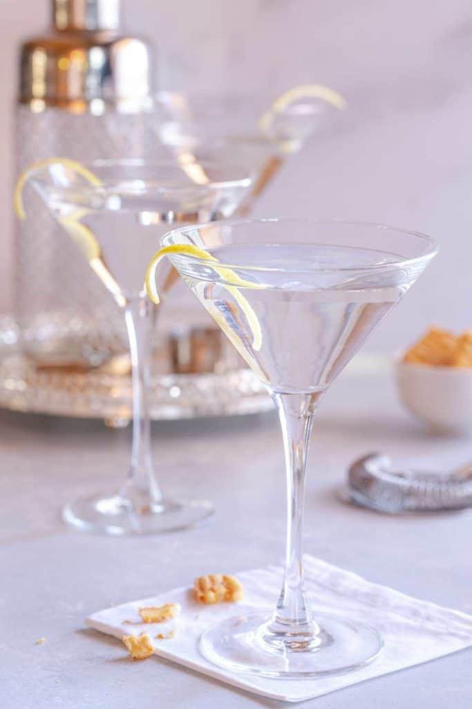 Martini glasses filled with Vodka Martini with a Twist