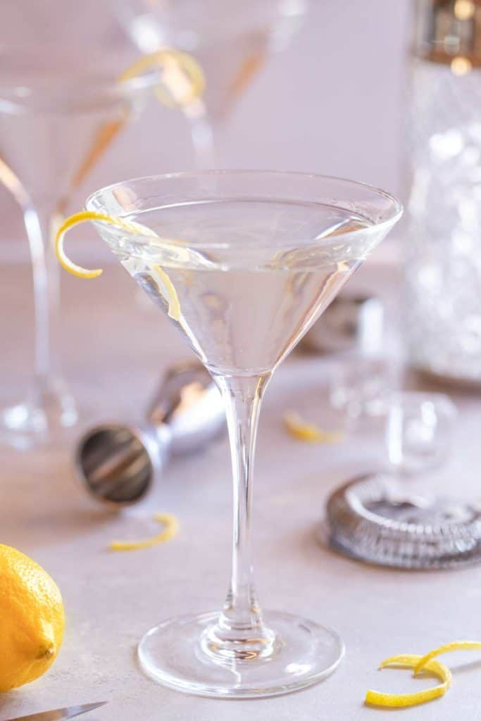 Martini glass filled with Vodka Martini with a Twist